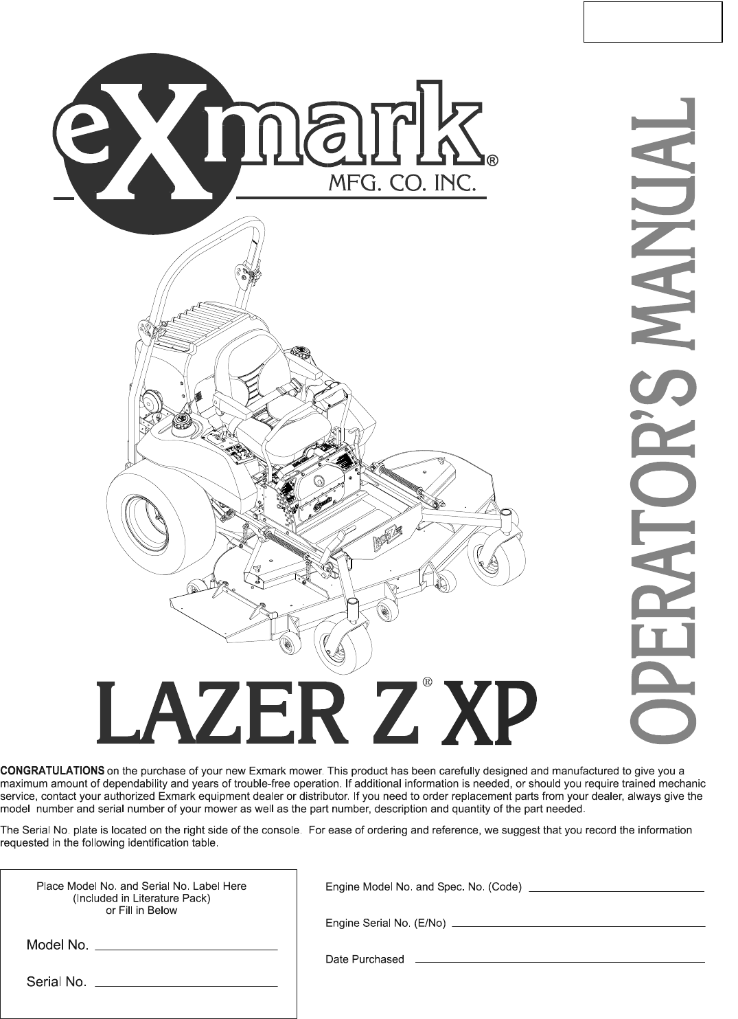 Exmark Lazer Z Xp Users Manual 103 7372