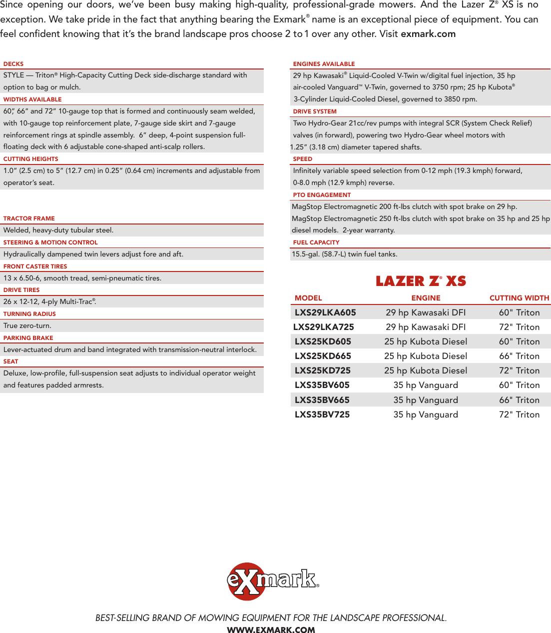 Exmark Lazer Z Xs Lxs25Kd605 Users Manual