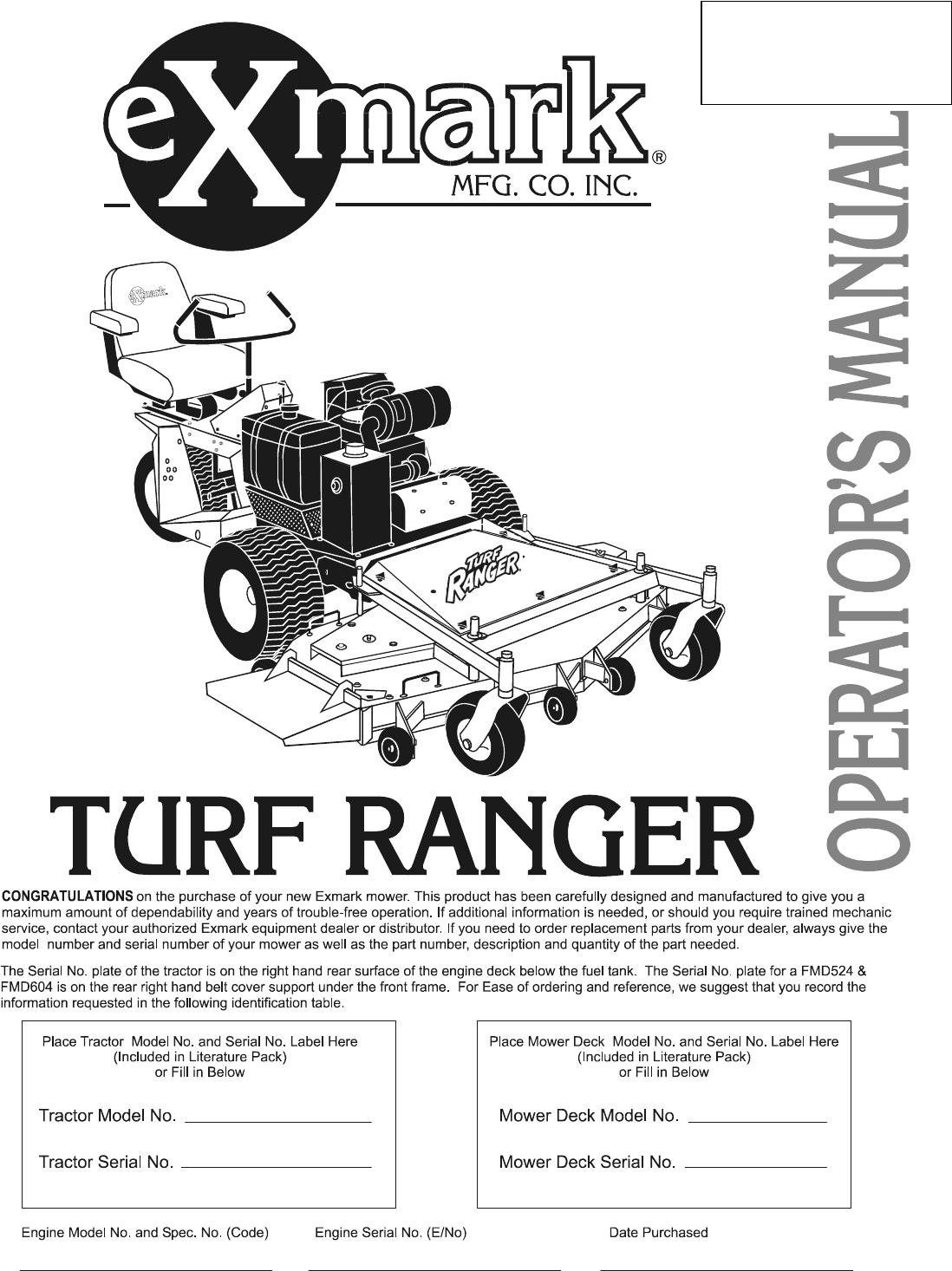 Exmark Tr23Kc Users Manual 103 9192