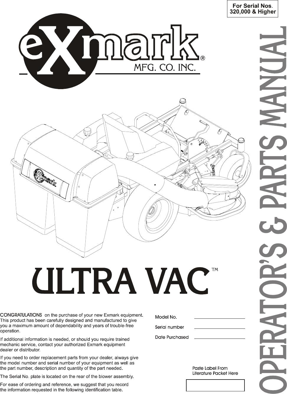 Exmark Ultra Vac Users Manual SUPPLEMENT SHEET