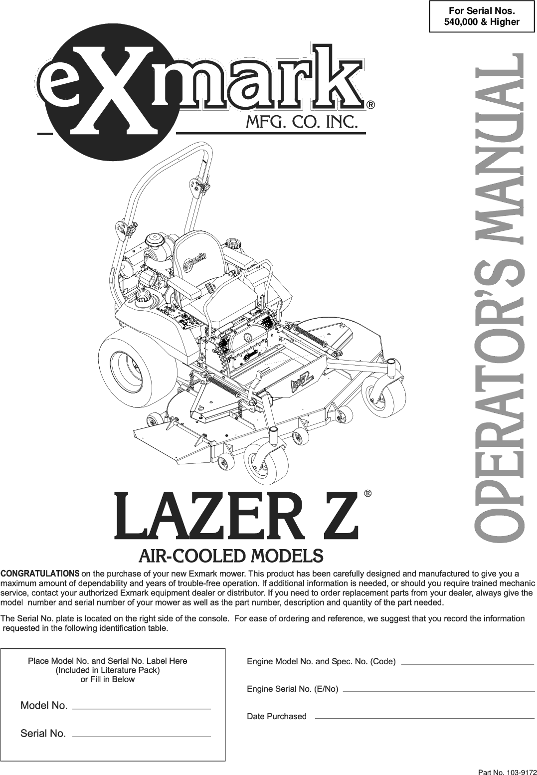 Exmark Lazer Z Hp 103 9172 User Manual To The 9a02d47a 8a63 470c 9237 Ddd41ea53d64