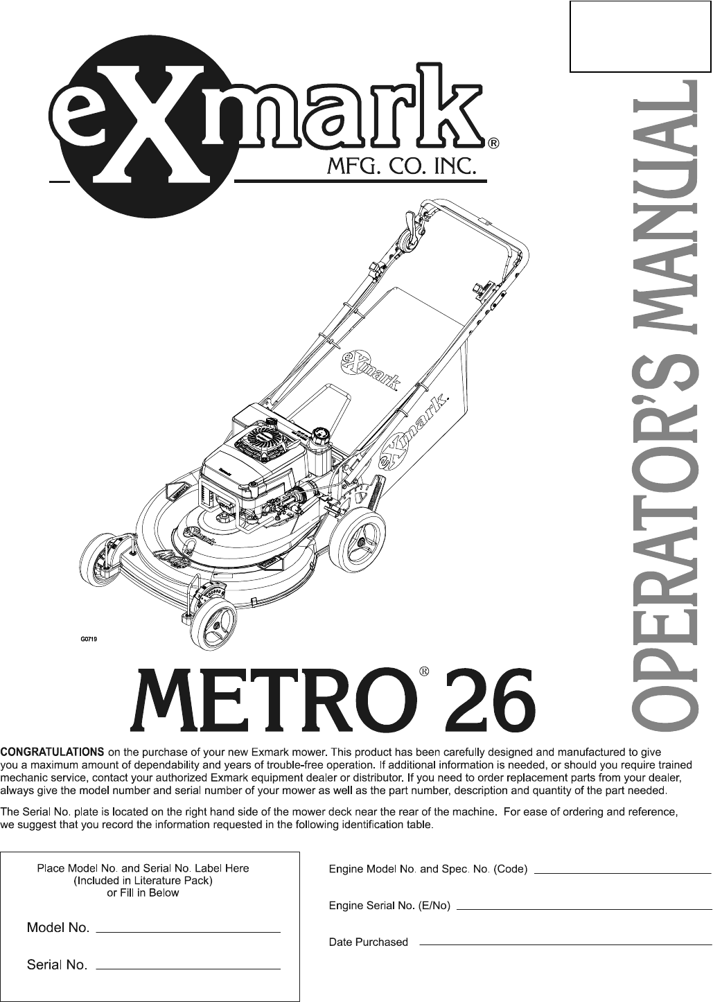 exmark metro 26 109 5511 user manual to the f5431943 6134 4310 bf4e rh usermanual wiki Exmark Metro 26 21 Echo Exmark