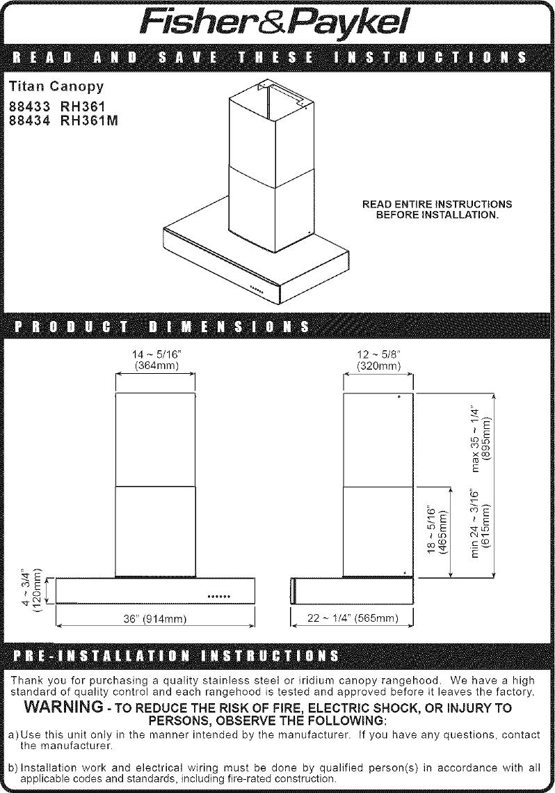 Fisherpaykel Range Hood Manual L0523181 Fisher Paykel Washing Machine Wiring Diagram