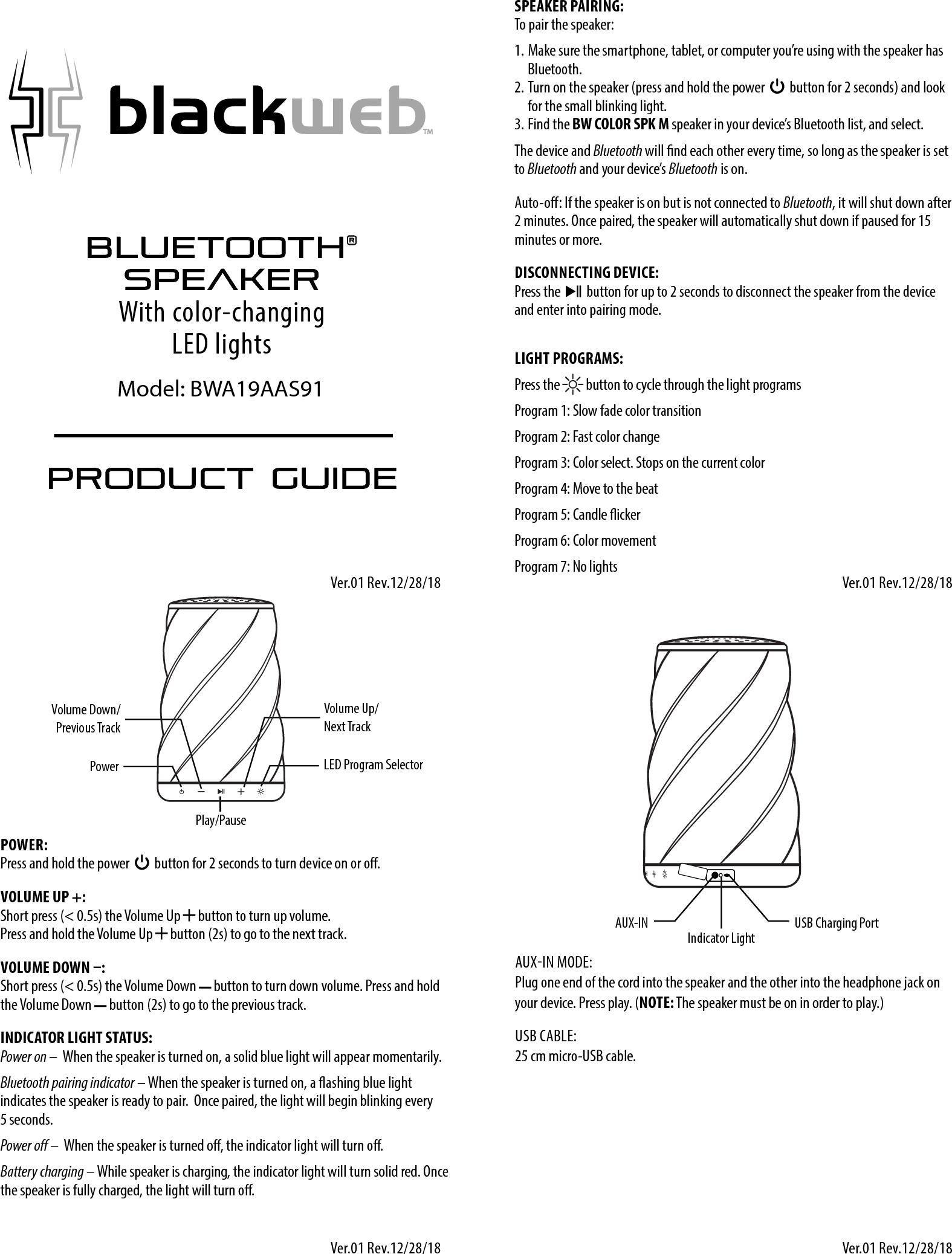 Blackweb Bluetooth Speaker Manual
