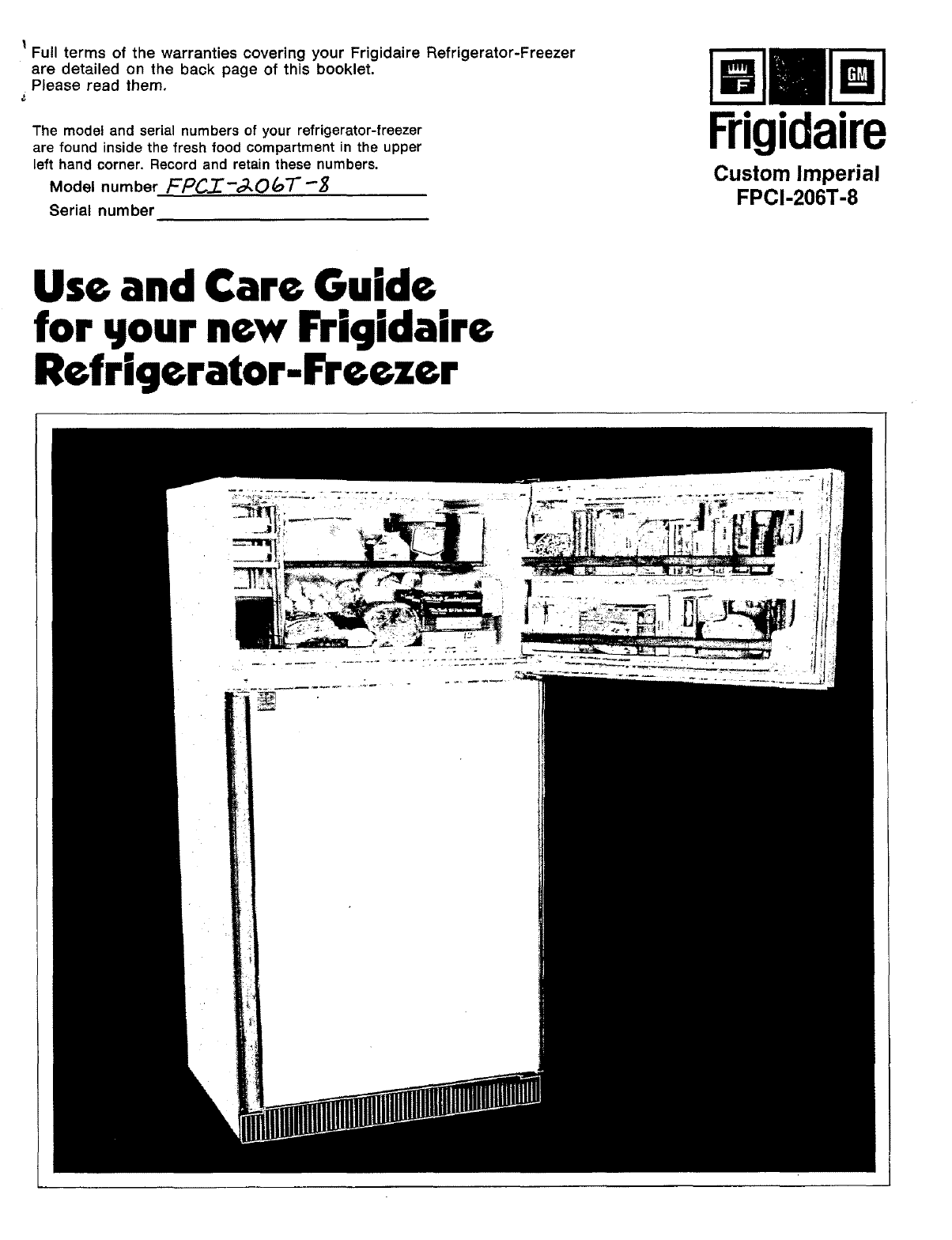 FRIGIDAIRE Top Mount Refrigerator Manual L0504380