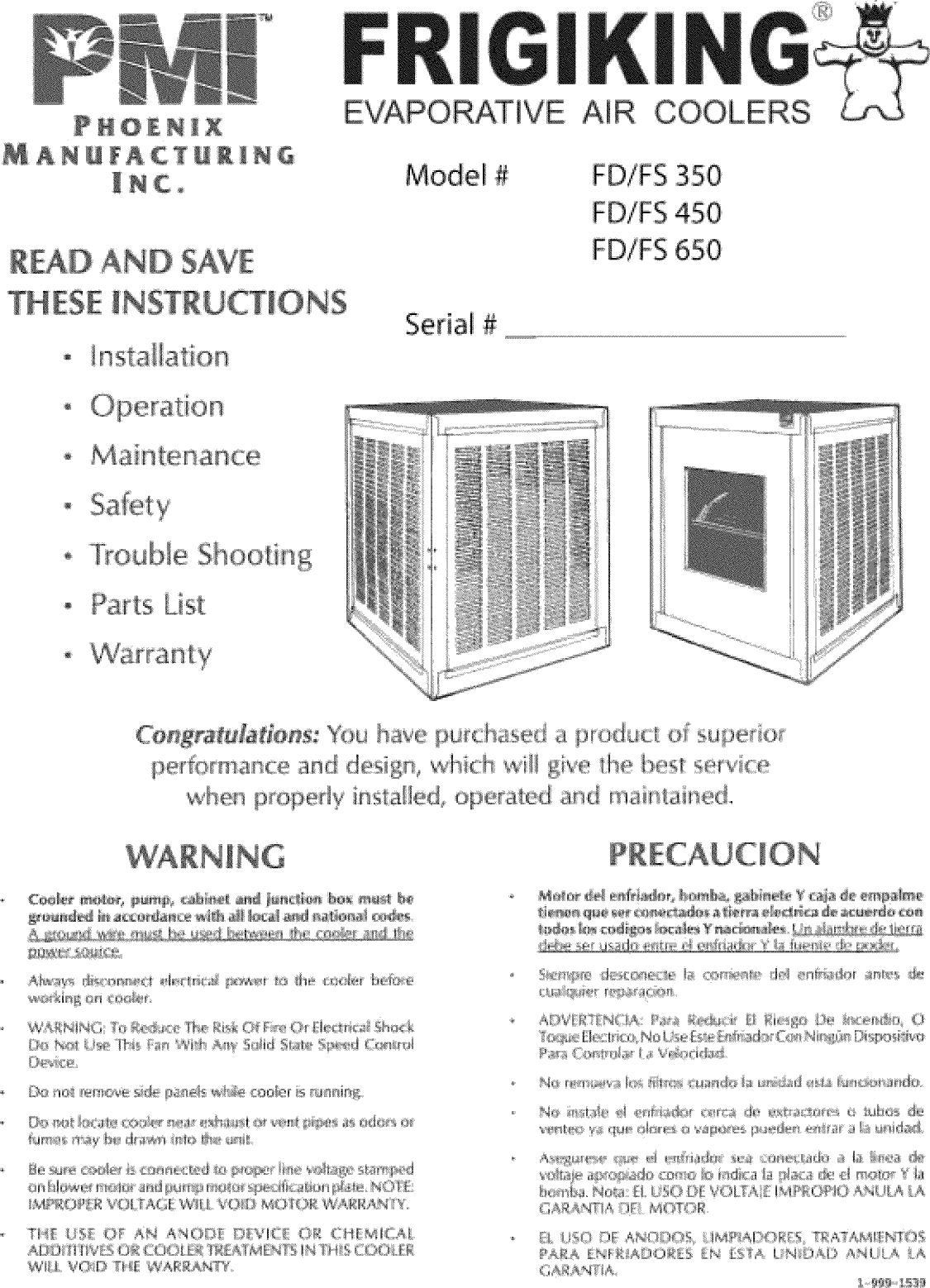 Frigiking Evaporative Cooler Manual L0812573 No Pump Swamp Motor Wiring Diagram