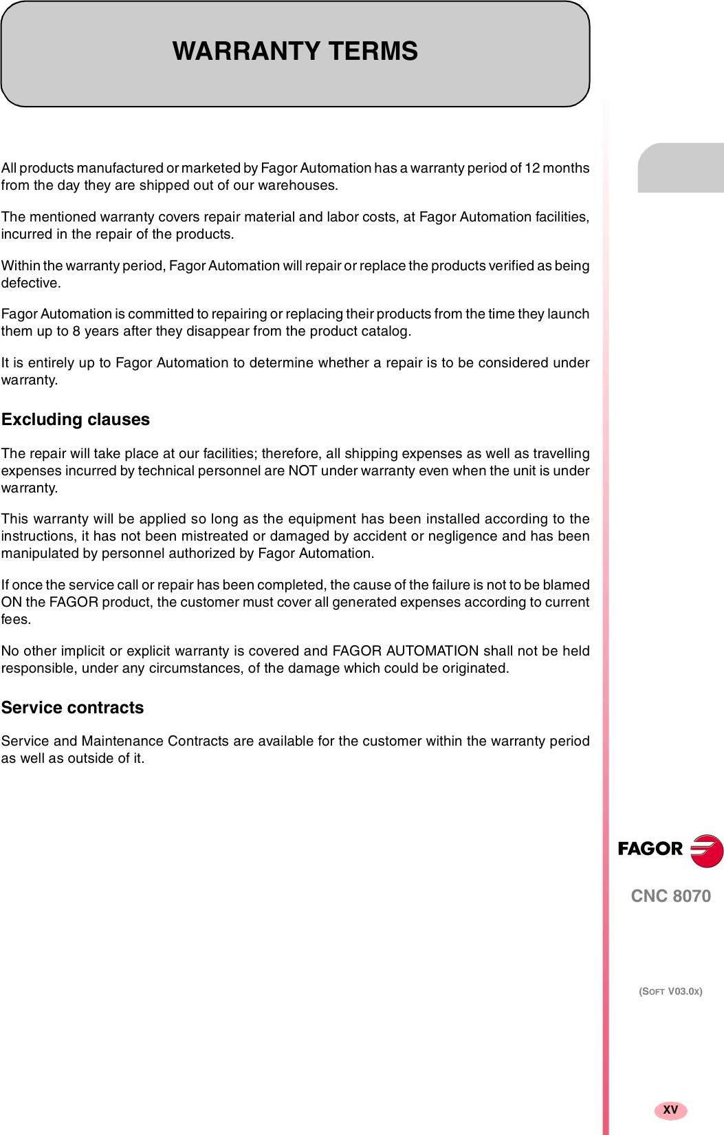 Fagor Cnc8070 Users Manual CNC 8070 Operating