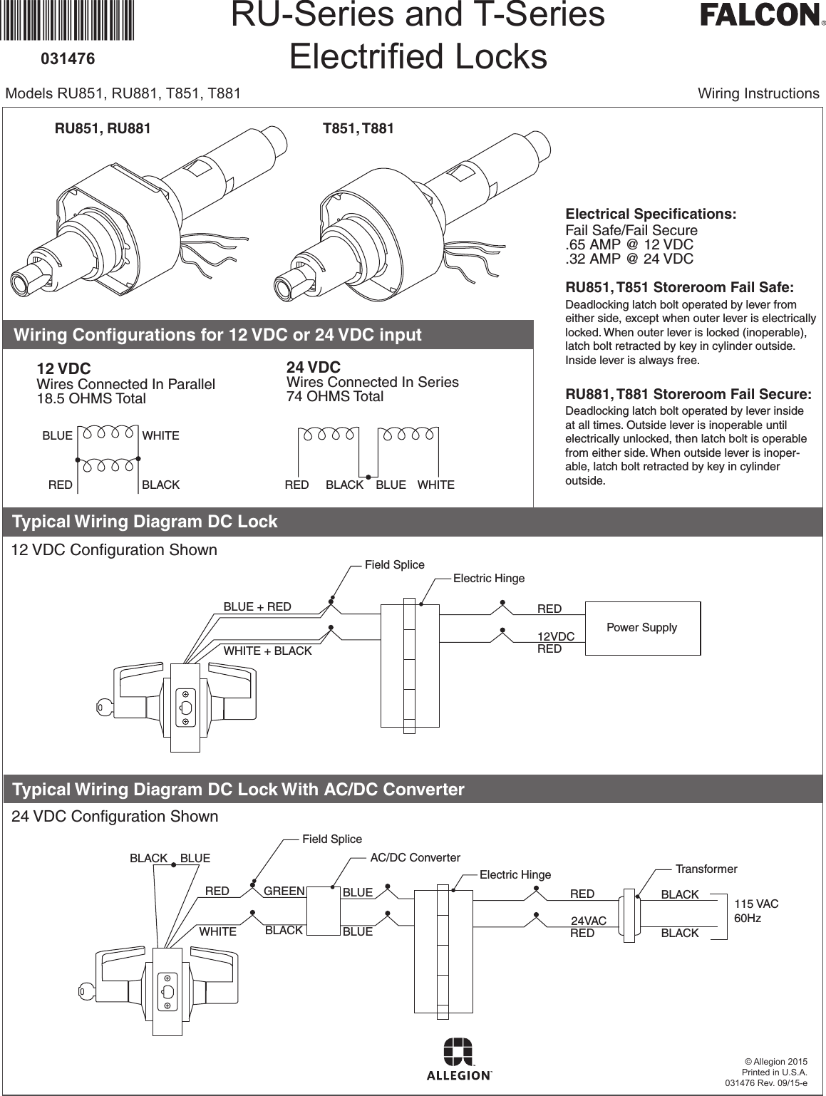 Falcon T Series Installation Instructions Electrical 110164