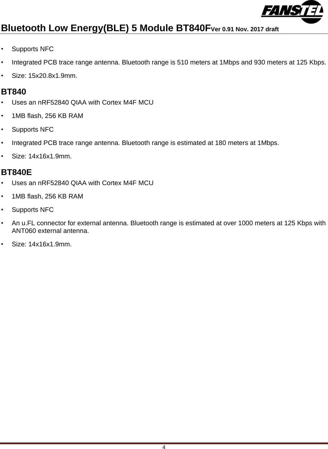 Fanstel Taipei BT840 Bluetooth 5 0 Module User Manual