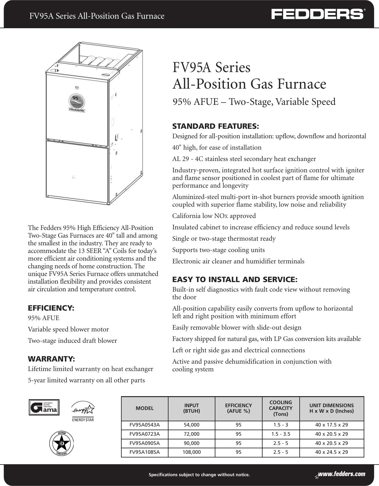 Fedders Fv95A Series Users Manual F C13 0206