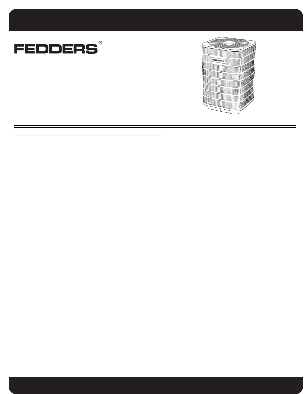 Fedders Split System Air Conditioner Users Manual on