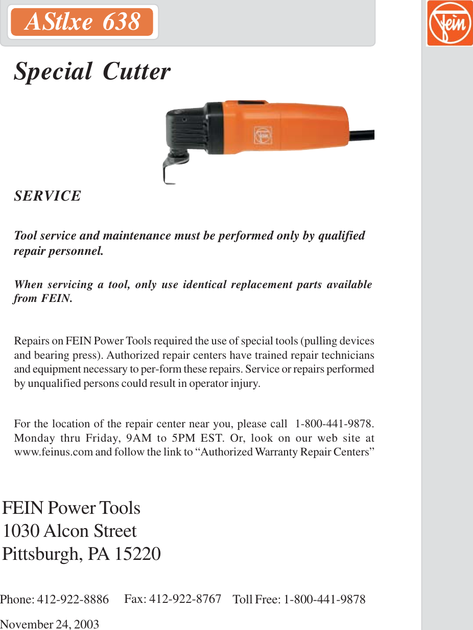 Fein Power Tools Astlxe 638 Users Manual Cover pmd