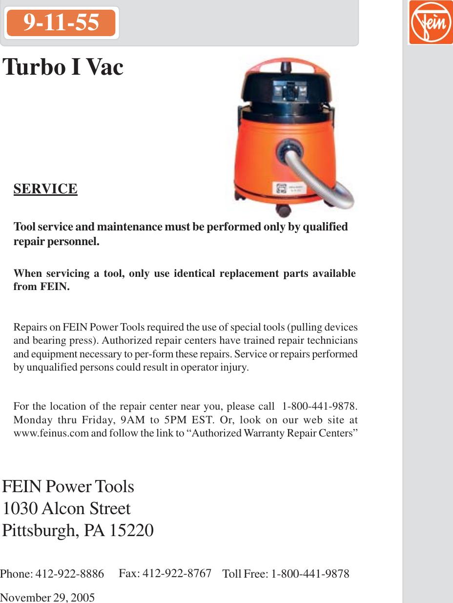 fein power tools turbo i vac 9 11 55 users manual 55 parts list rh usermanual wiki User 1C V8 2 I Vac Cordless Vac