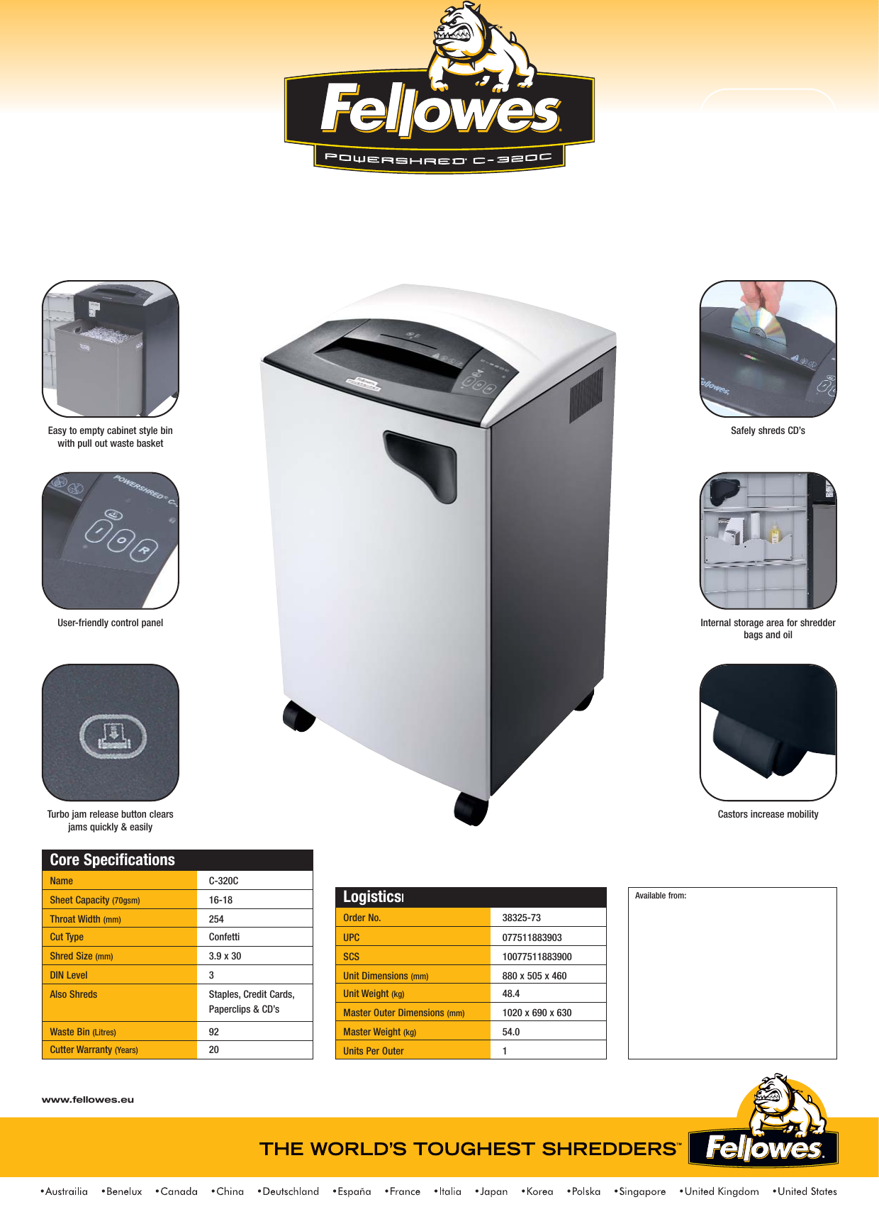 fellowes powershred c 320c users manual shredder sell sheets uk rh usermanual wiki