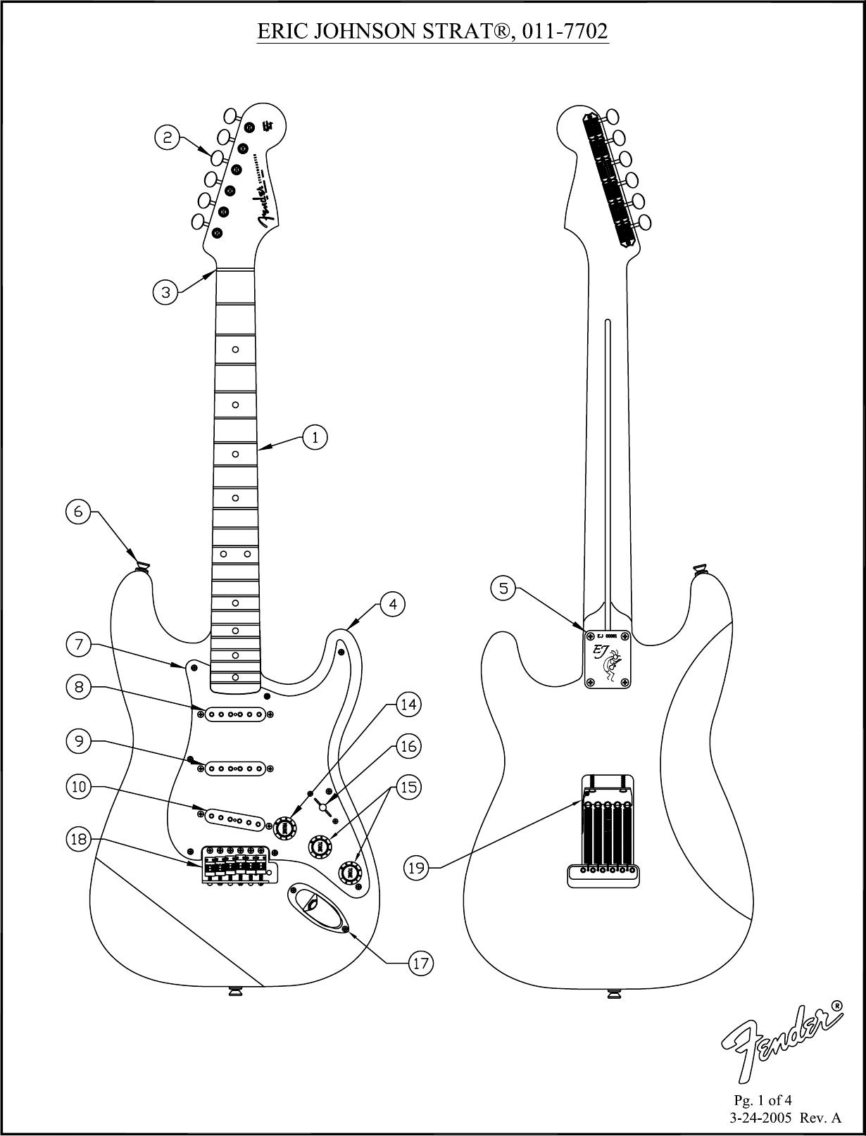 Page 1 of 4 - Fender SD 011-7702 Eric Johnson Strat - Rev A  011-7702A SISD