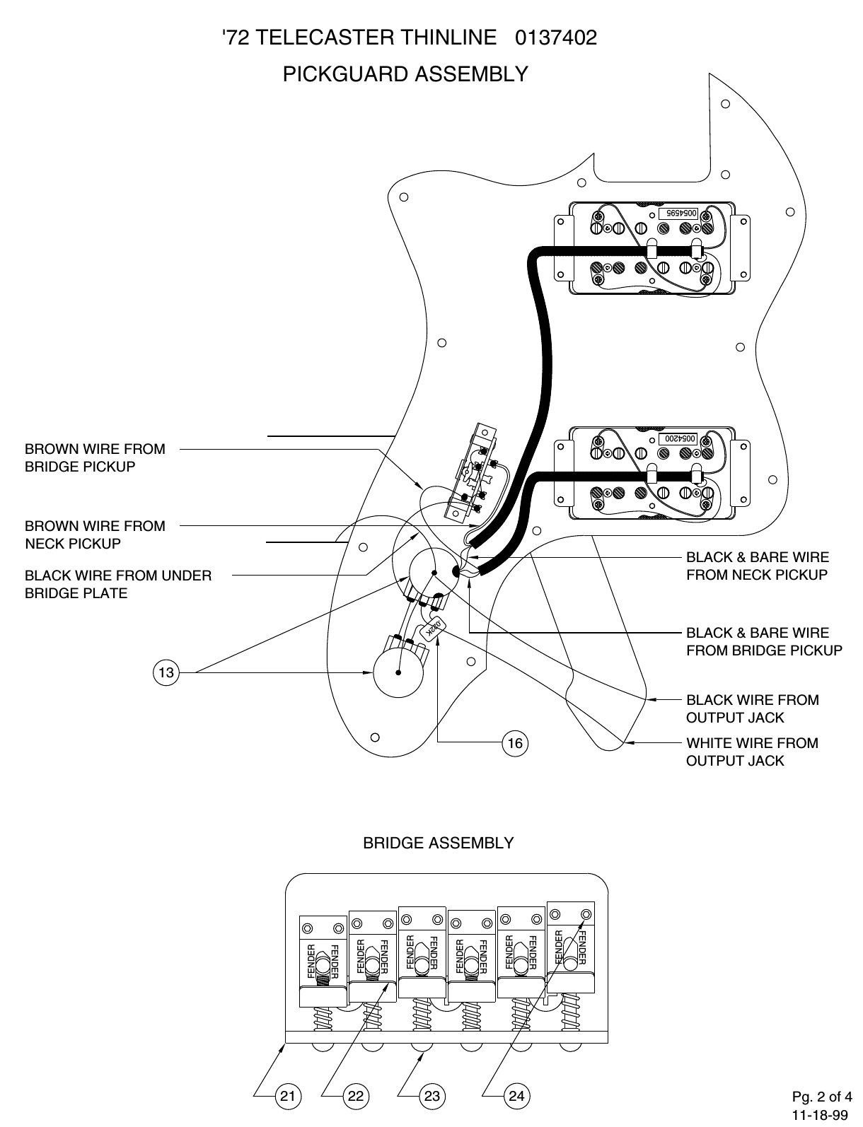 Fender 013 7402b Sisd Telecaster Thinline Wiring Diagram Page 2 Of 4