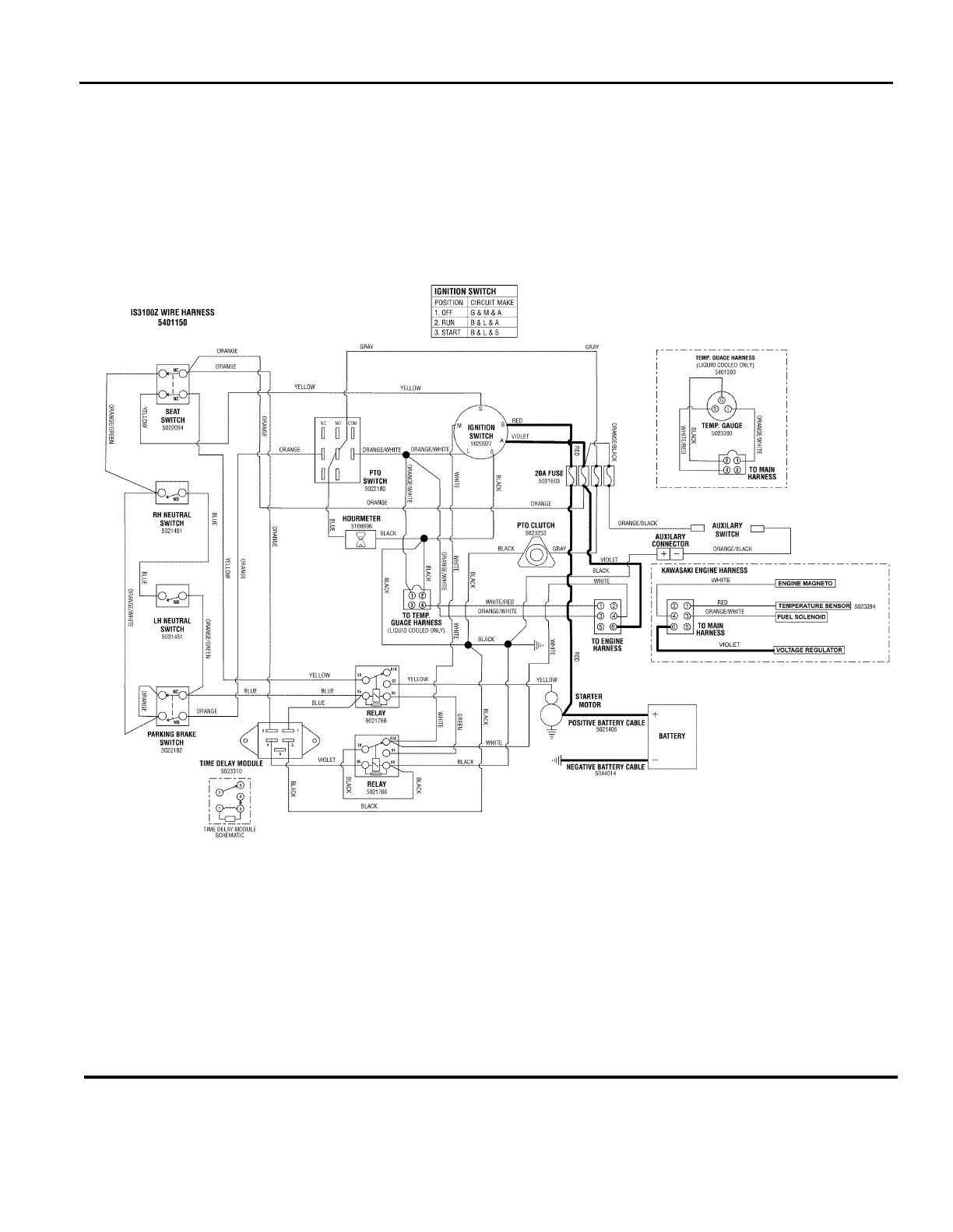 Ferris Industries Lawn Mower Is3100z Series Users Manual Partsmanual Seat Switch Wiring Diagram Electrical Schematic Charging Circuit Kawasaki 26hp Lc