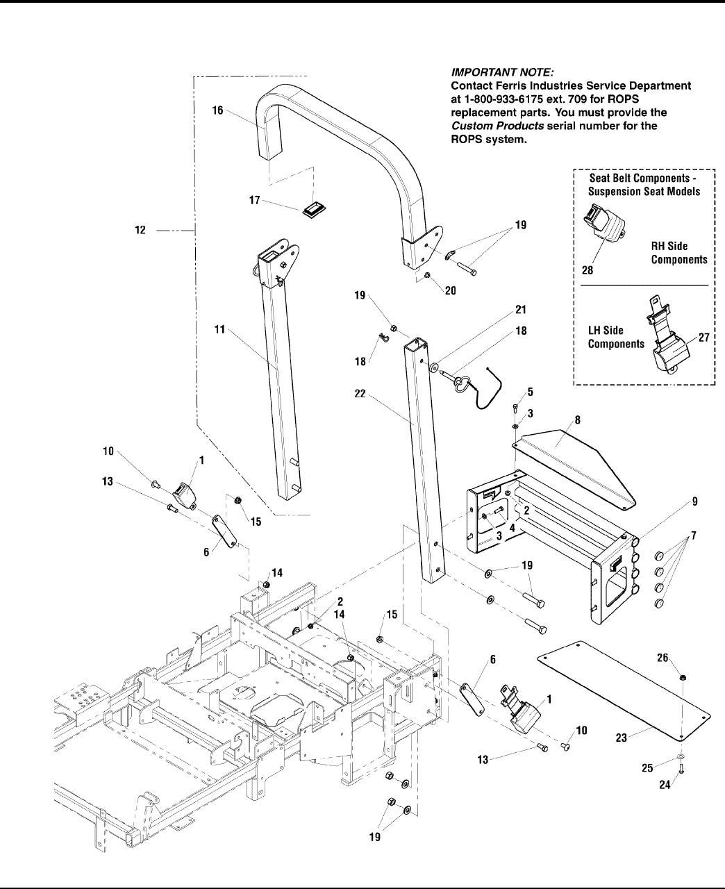Ferris Industries Lawn Mower Is3100z Series Users Manual Partsmanual Seat Switch Wiring Diagram Rear Bumper Roll Bar Belt Group