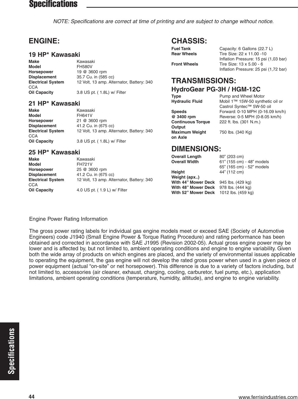 Ferris Industries Is1500Z Users Manual