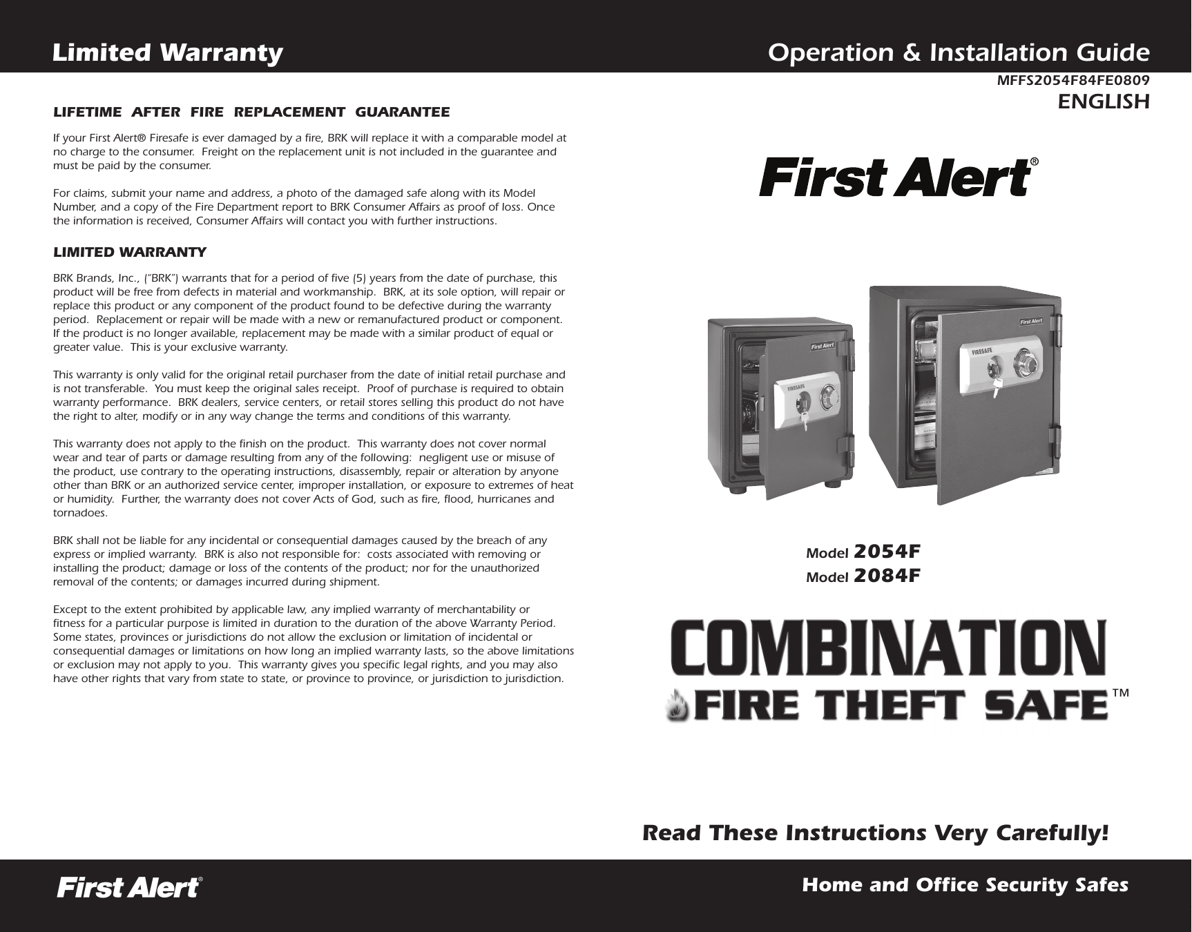 First Alert Fire Theft Safe 2054f Users Manual