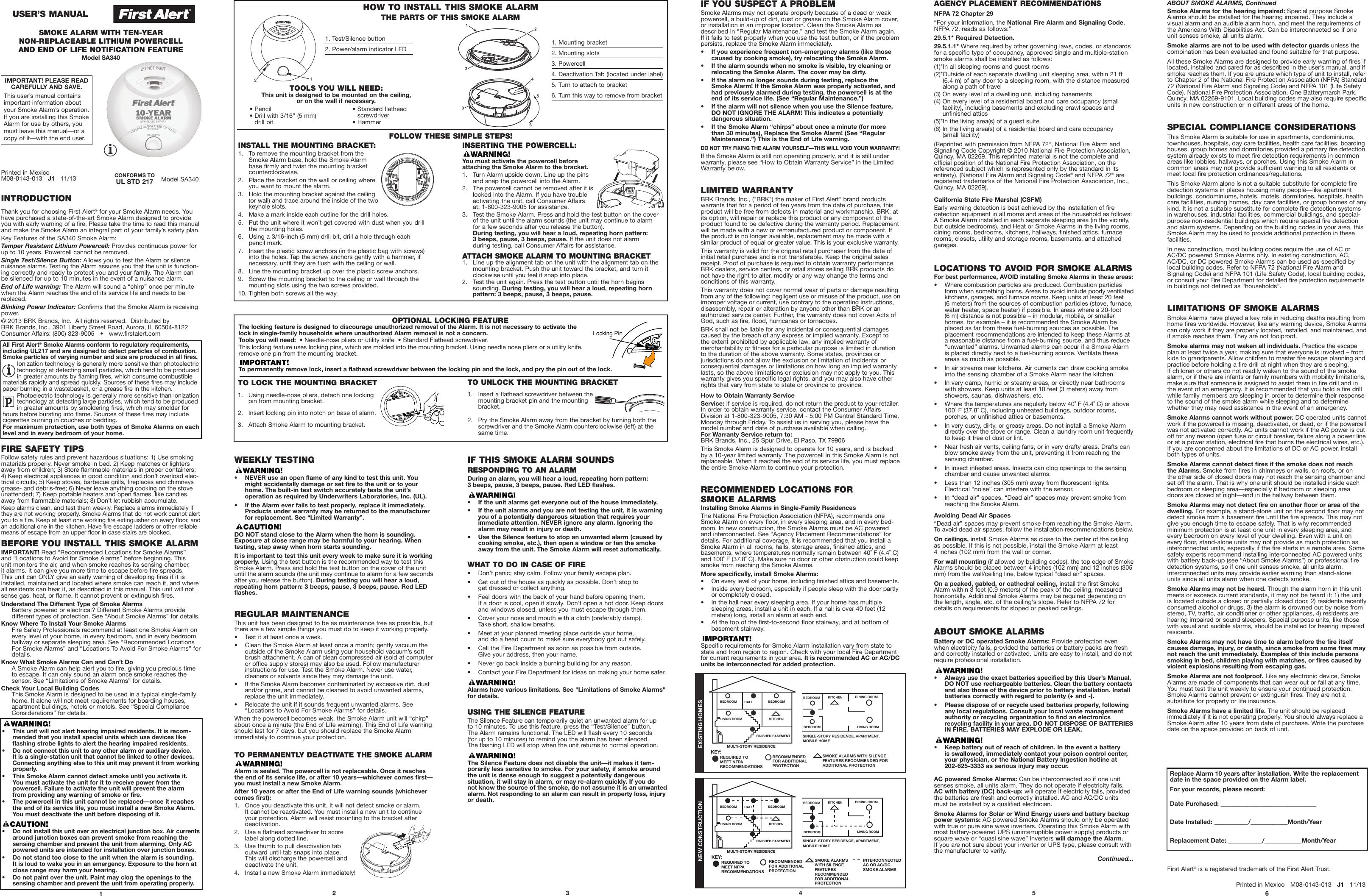 First Alert Tamperproof Smoke Alarm With 10 Year Lithium Battery Detector Wiring Diagram Users Manual Sa340