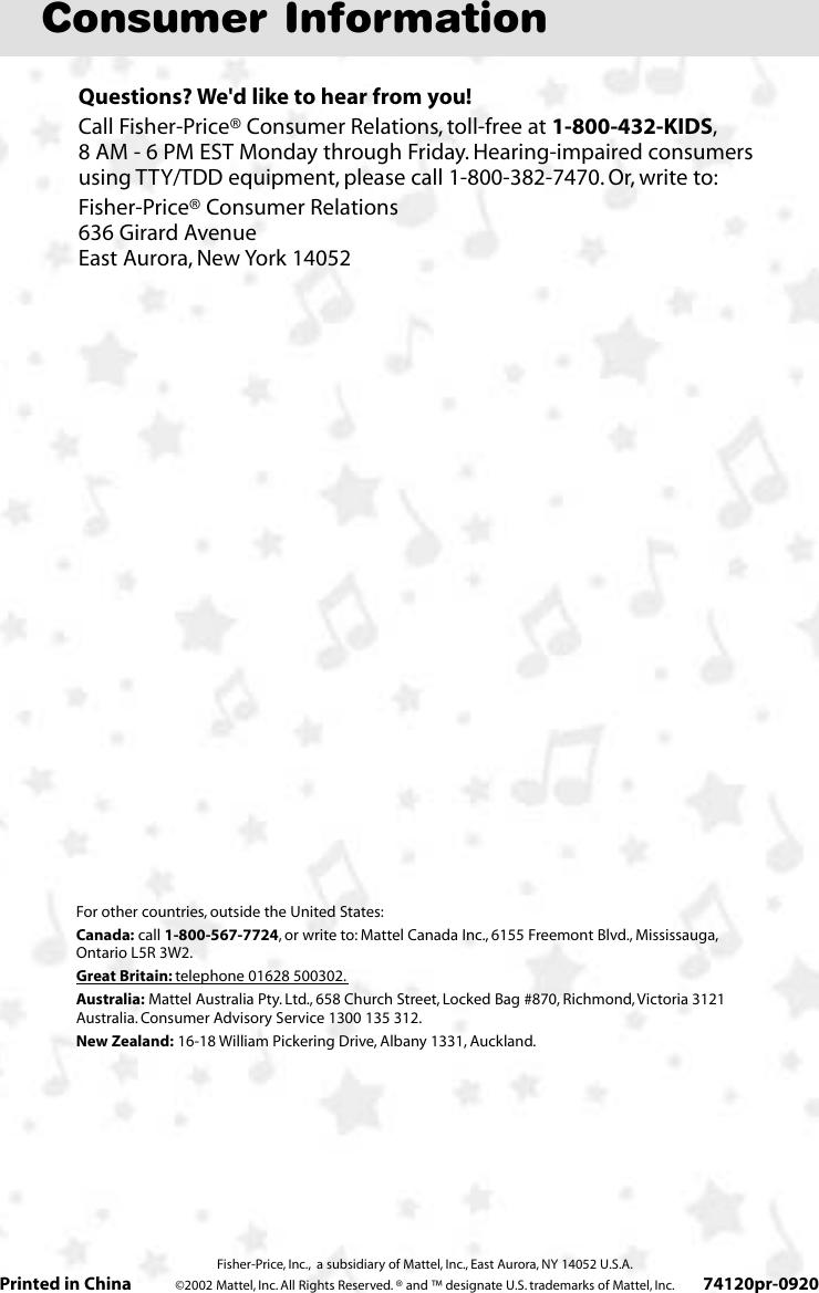 Fisher Price 74120 Users Manual