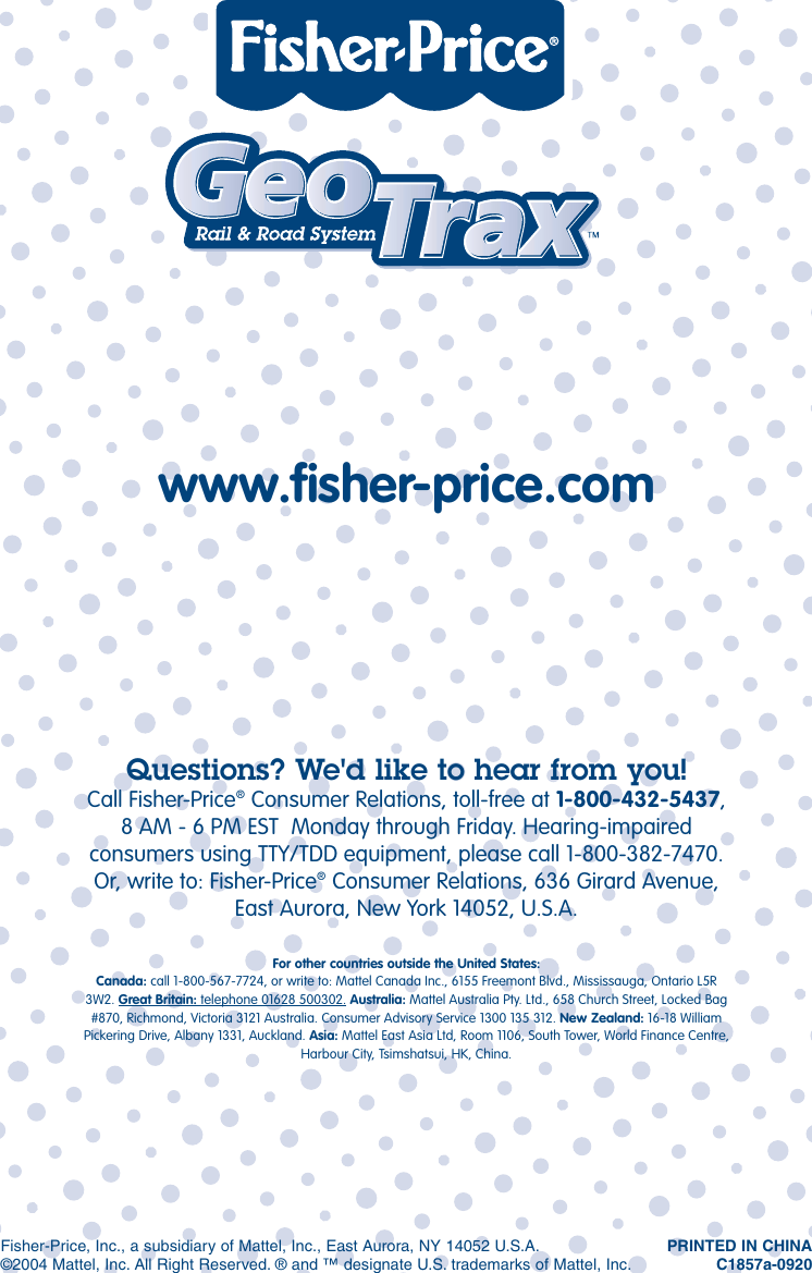 Fisher Price Geotrax C1857 Users Manual