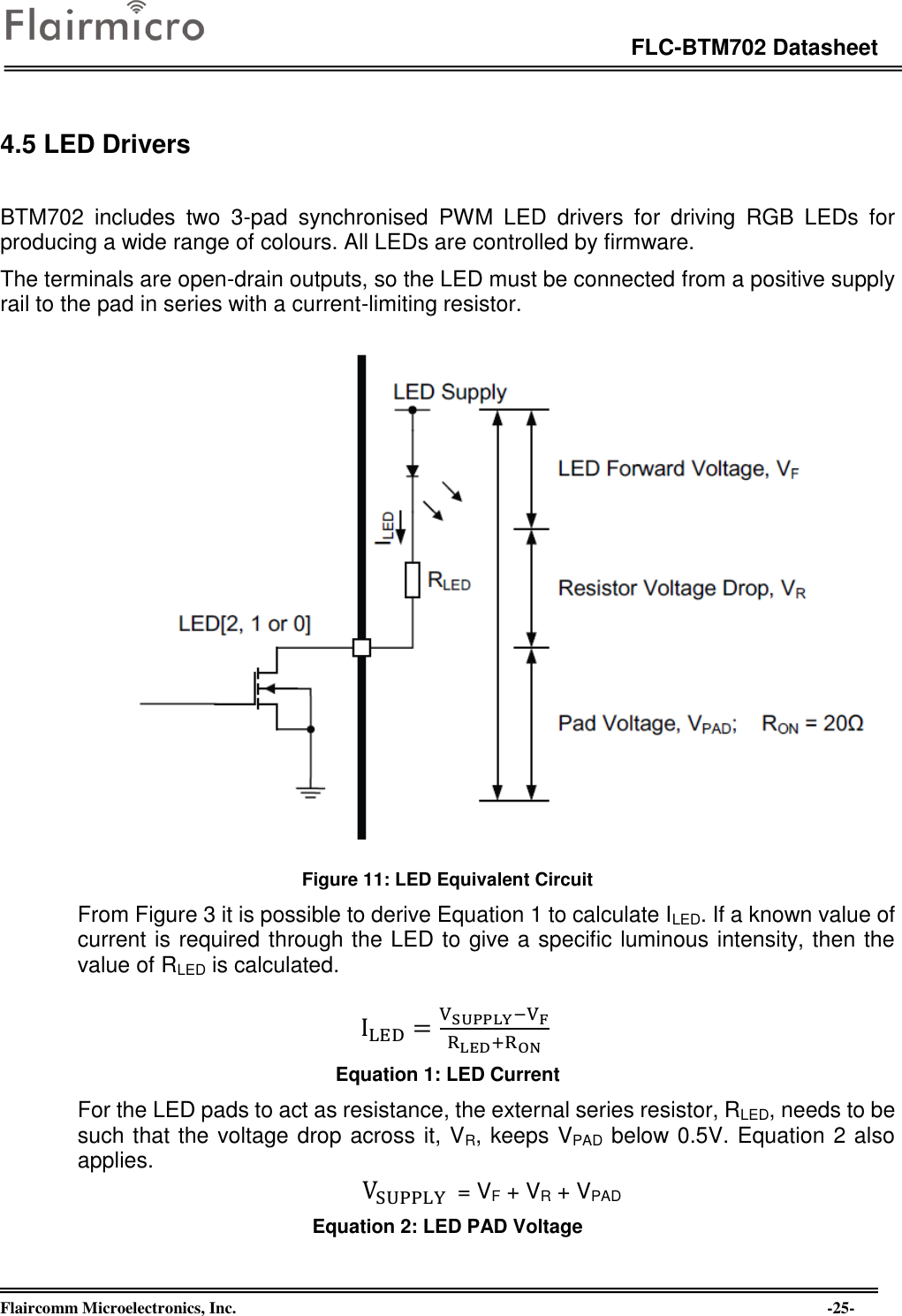 Flaircomm Microelectronics Btm702a Bluetooth Module Bt50 User Manual Current Limiting Resistor Calculator For Leds Page 25 Of