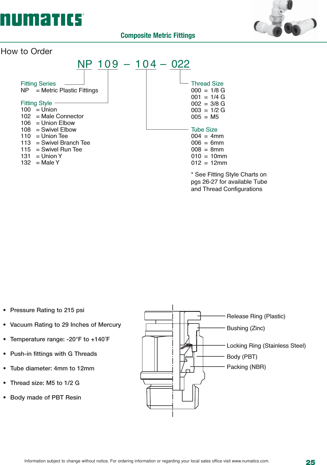 Flow Numatic Push In 1505490034 Numatics Accessories R0610 User Manual