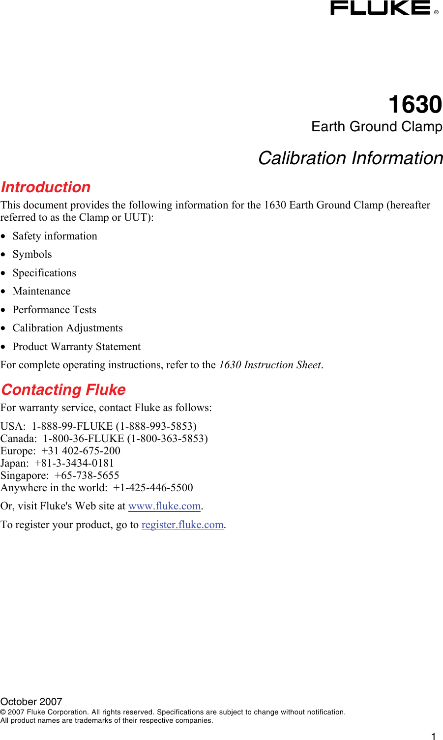 Fluke 1630 Users Manual
