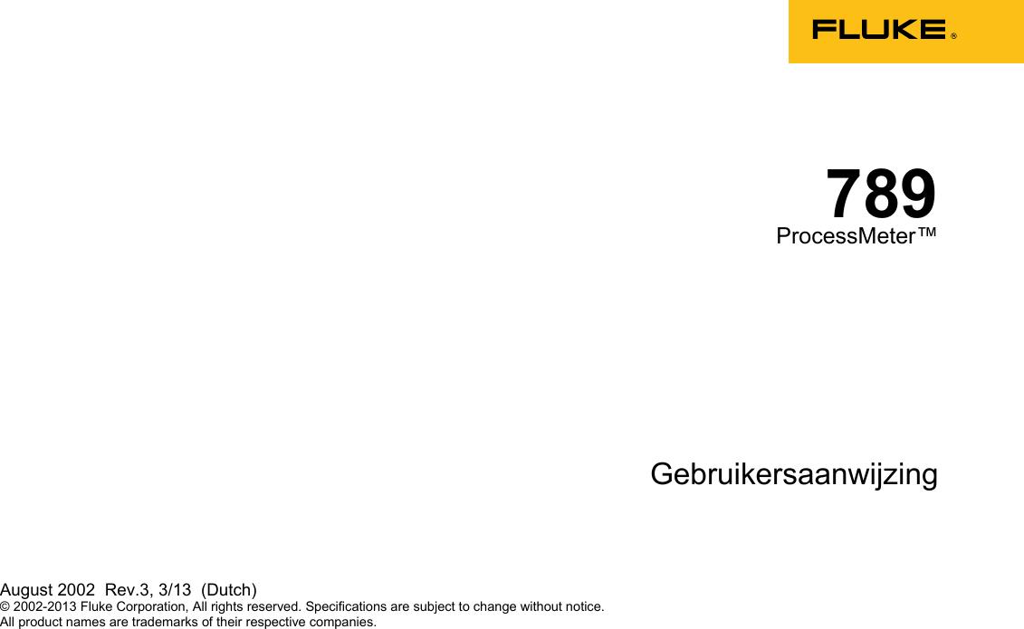 Fluke 789 Users Manual