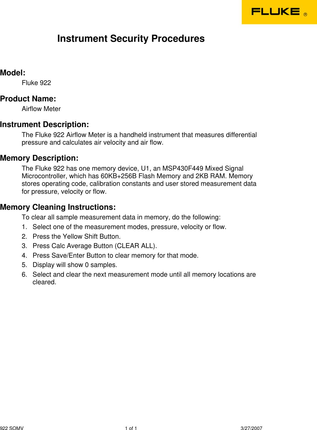 Fluke 922 Airflow Users Manual
