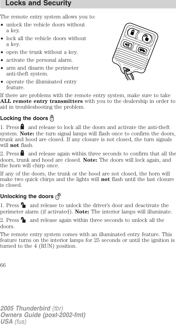 Ford 2005 Thunderbird Owners Manual