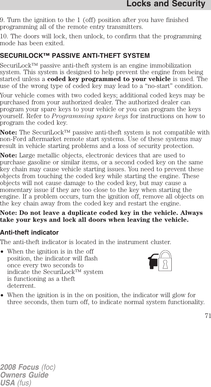 Ford 2008 Focus Owners Manual