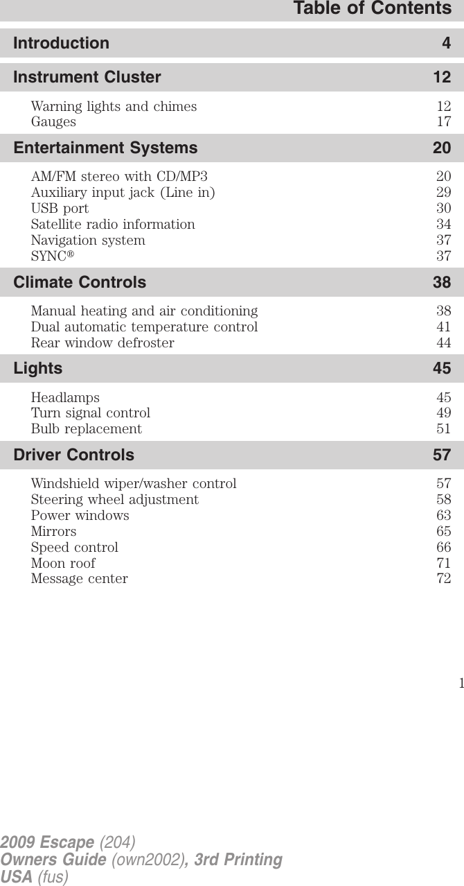 Ford 2009 Escape Owners Manual