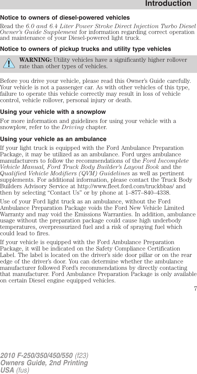 Ford 2010 F 250 Owners Manual