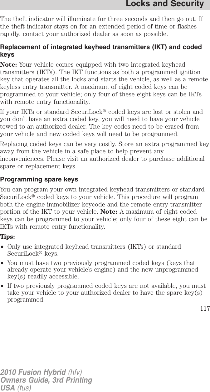 Ford 2010 Fusion Hybrid Owners Manual