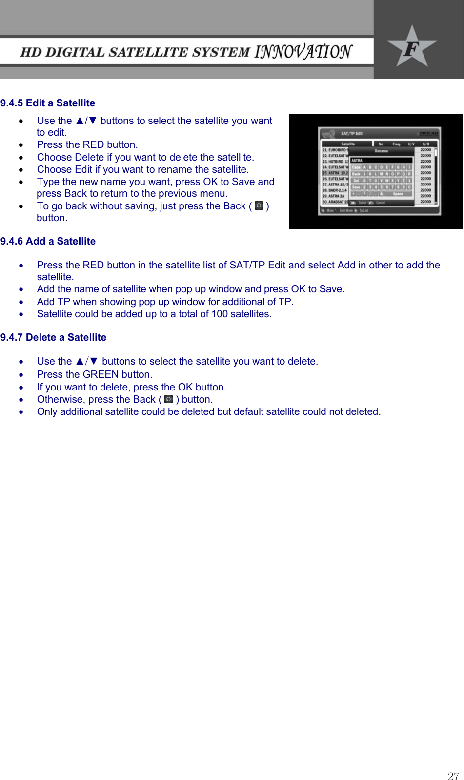 Fortec Satellite Tv System Innovation Users Manual In English
