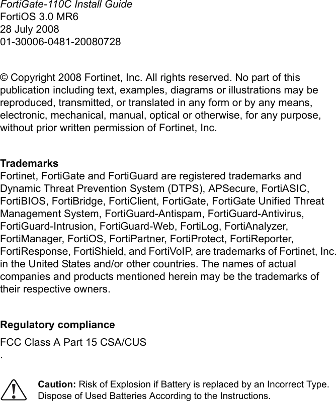Fortinet Fortigate 110C Users Manual Install Guide