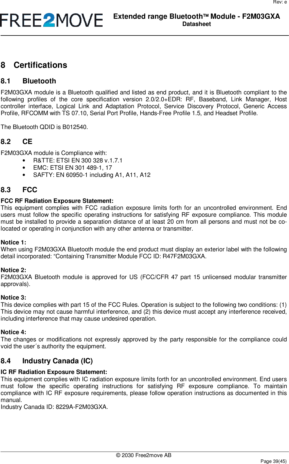 Free2move F2M03GXA Bluetooth module User Manual Exhibit 8
