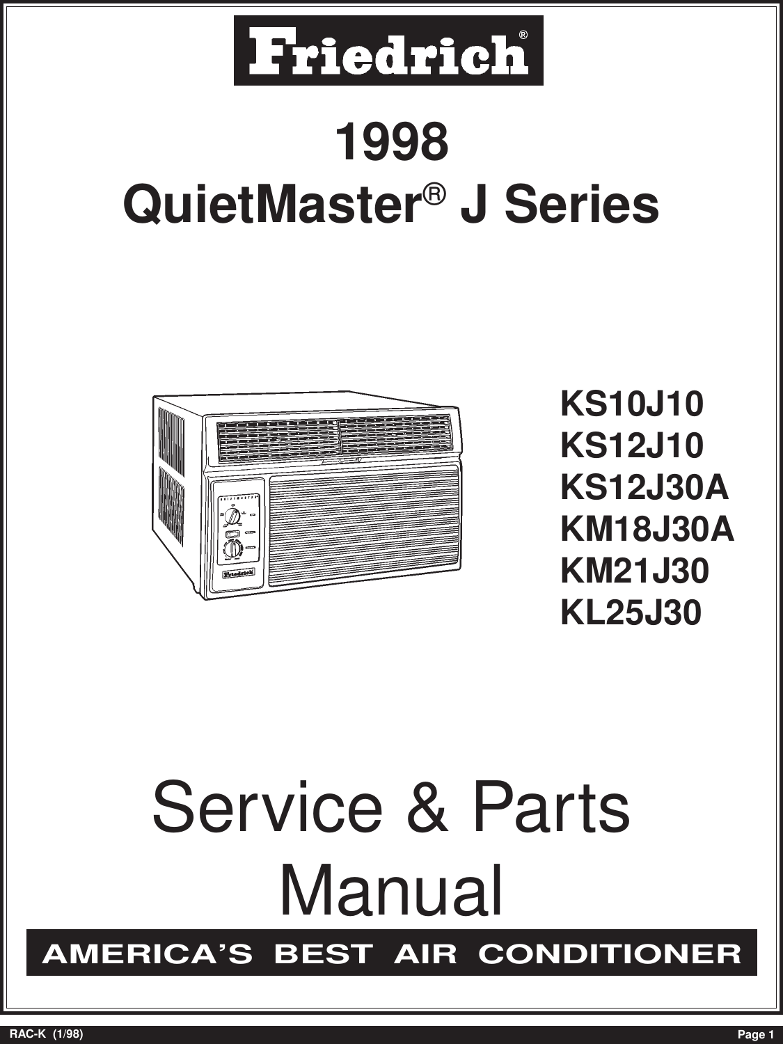 Friedrich Air Conditioner Kl25j30 Users Manual Rac K98 Conditioners Wiring Diagram