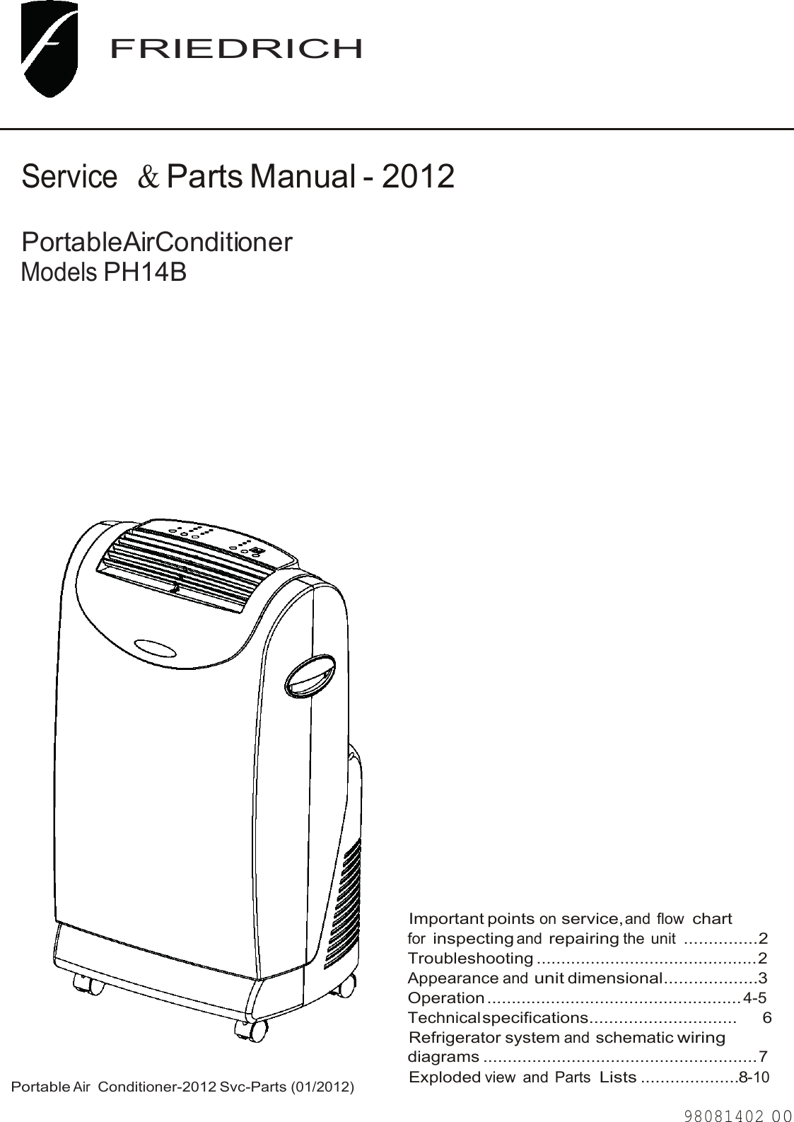 Friedrich Air Conditioner Ph14b Users Manual Portable 06 19 12 Small Appliance Wiring Diagram