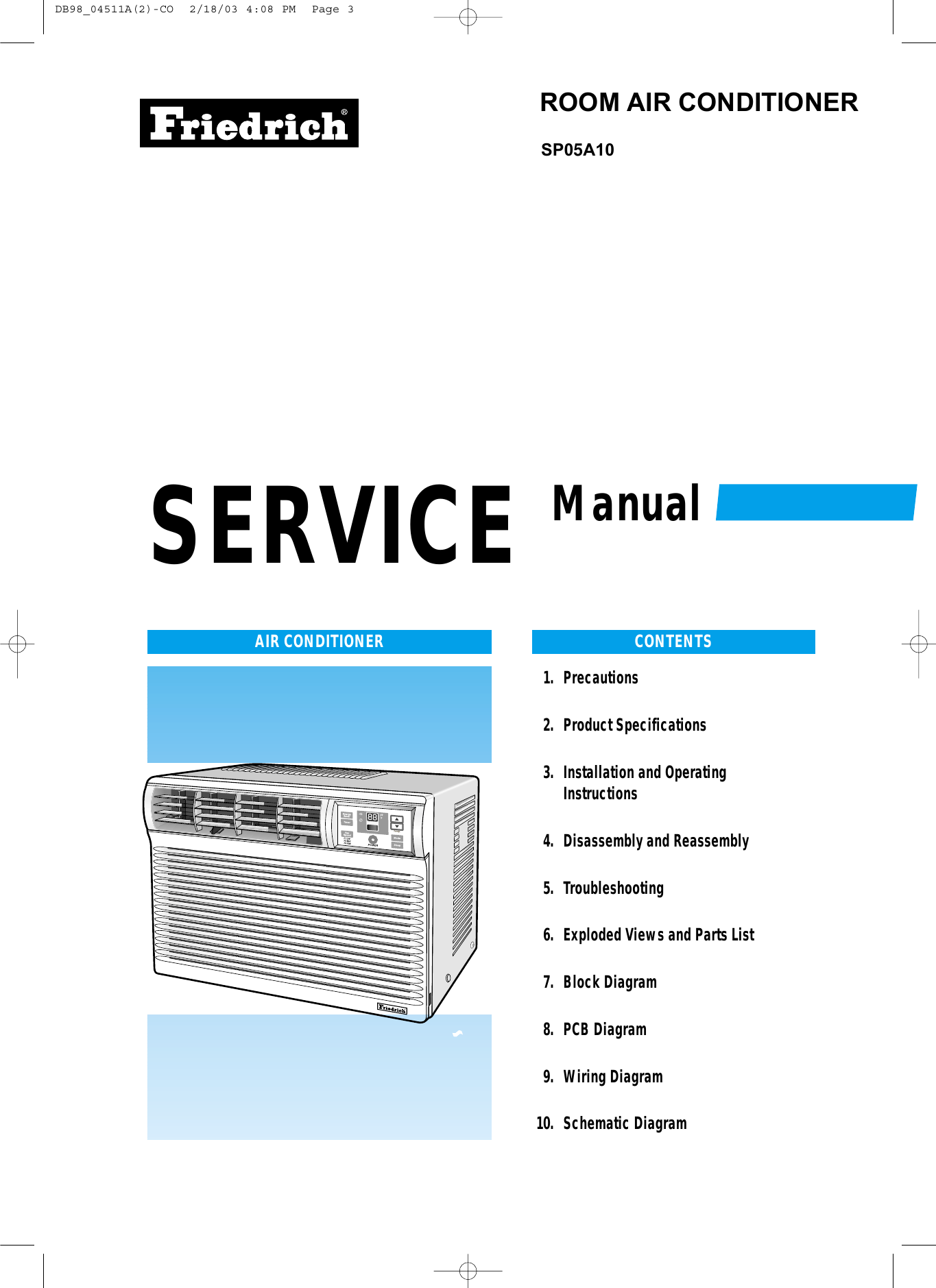 Friedrich Air Conditioner Sp05a10 Users Manual Wiring Diagram