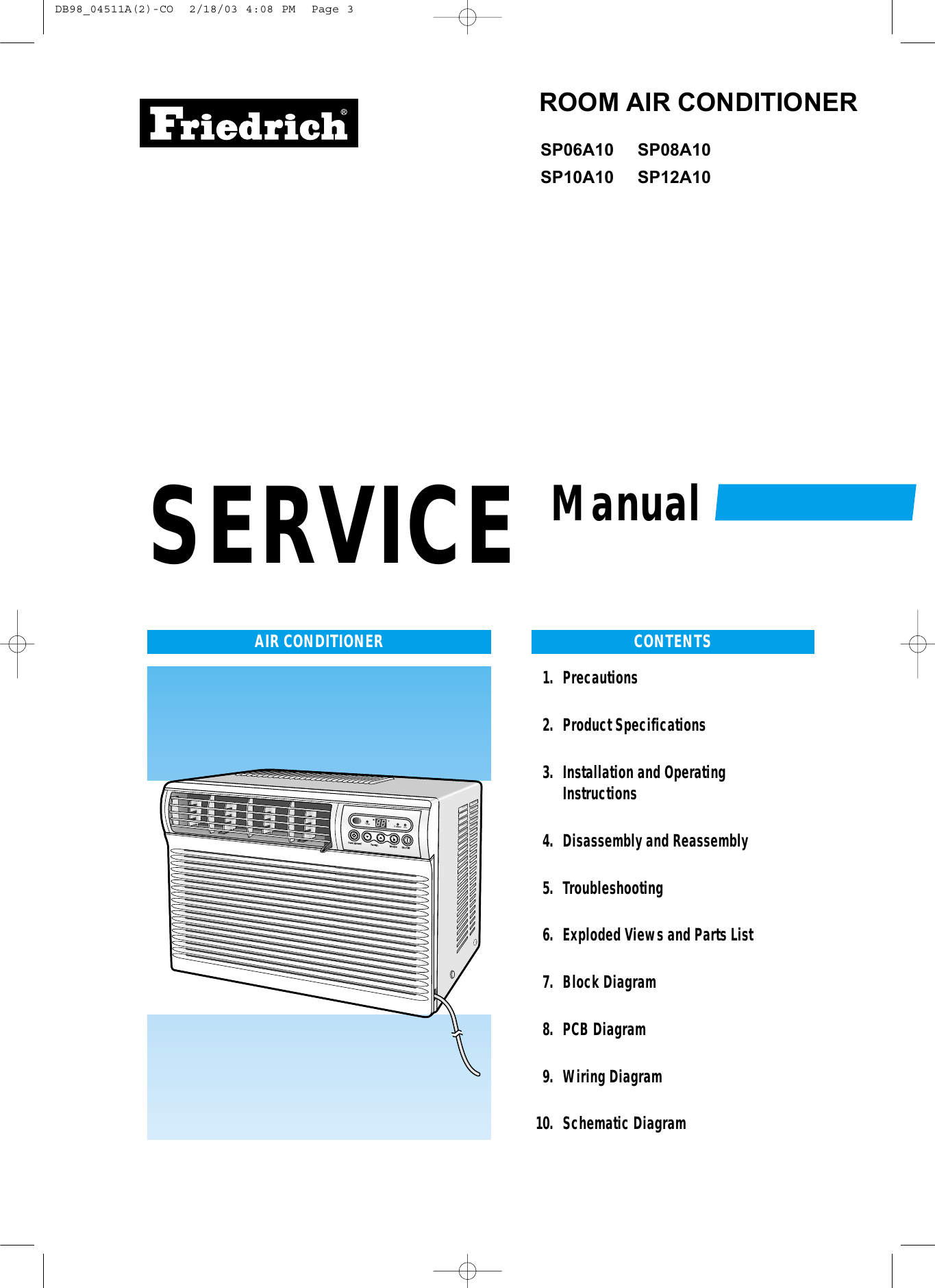 Friedrich Air Conditioner Sp06a10 Users Manual Conditioners Wiring Diagram