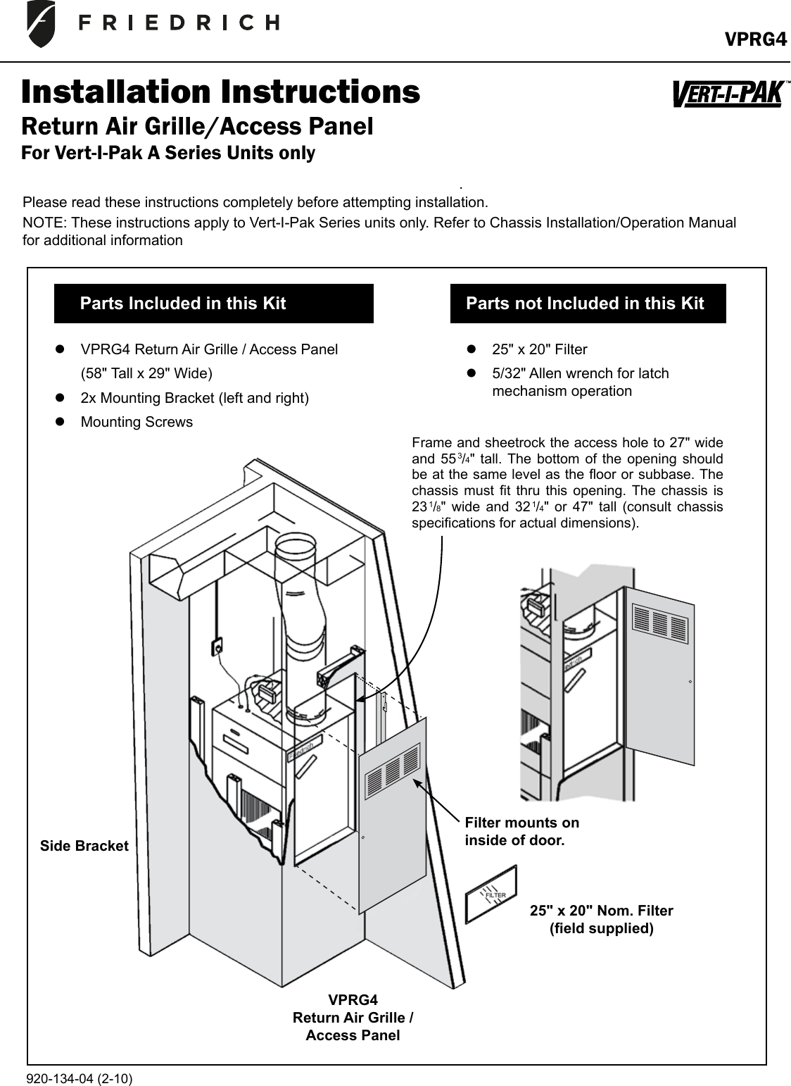 Friedrich Air Conditioner Vprg4 Users Manual 920134042 10 Io Conditioners Wiring Diagram Page 1 Of 5