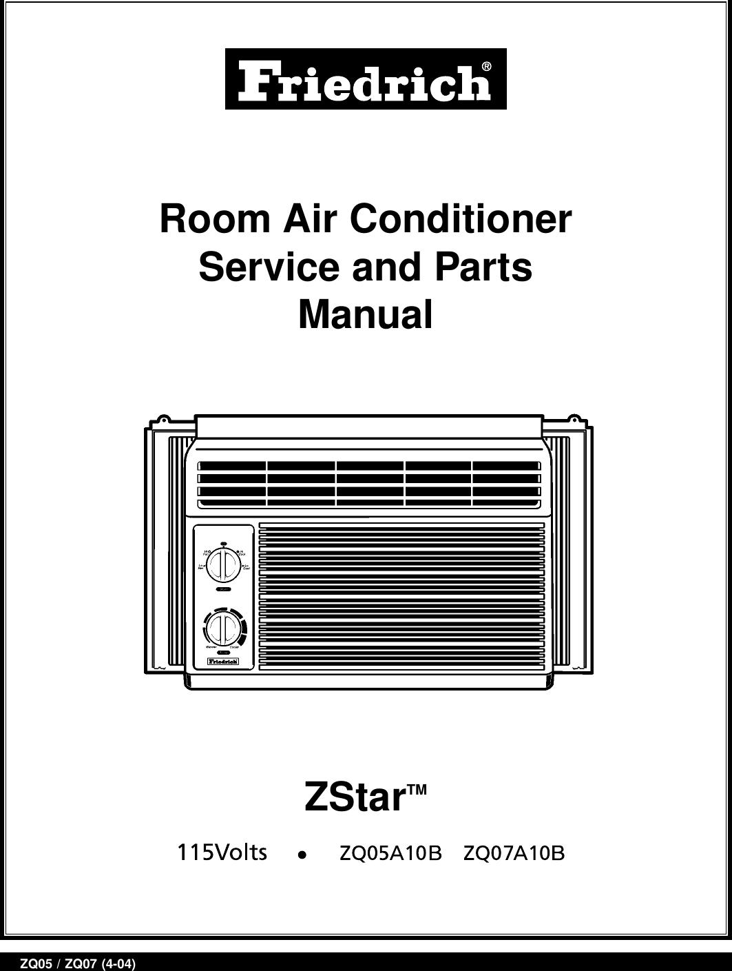 Friedrich Zq05a10b User Manual To The 03e9fb0d C690 4c15 A807 Thermostat Wiring Diagram Fc1321c2e6da