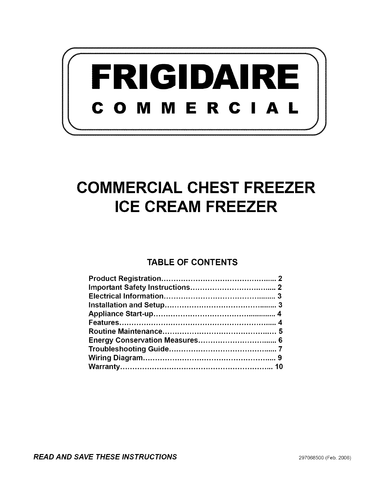 Frigidaire Fcc2071fw2 User Manual Freezer Manuals And Guides L0610623 Wiring Diagram
