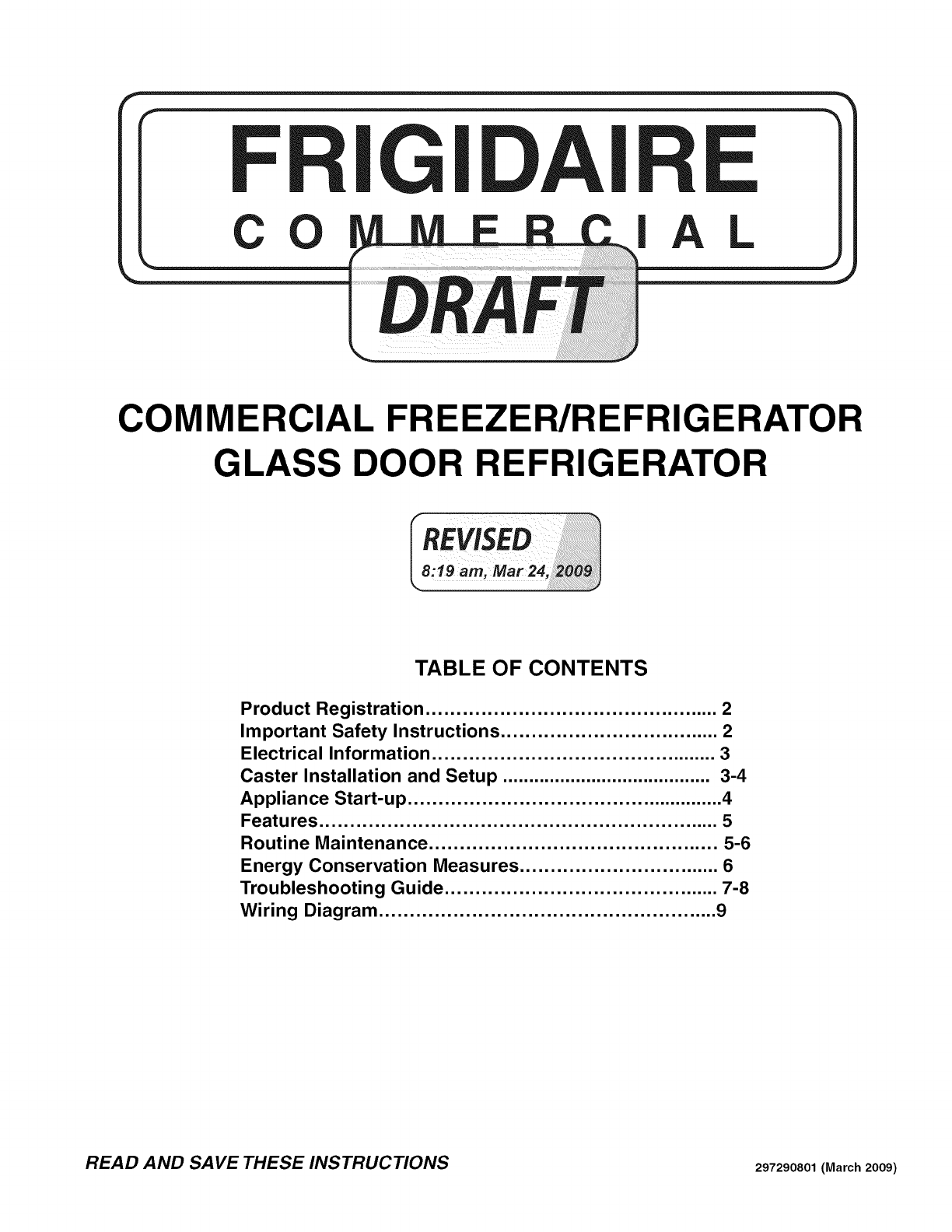 Frigidaire Fcgm201rfb2 User Manual Refrigerator Freezer Manuals And Refrigeration True Wiring Diagram Guides L0911500