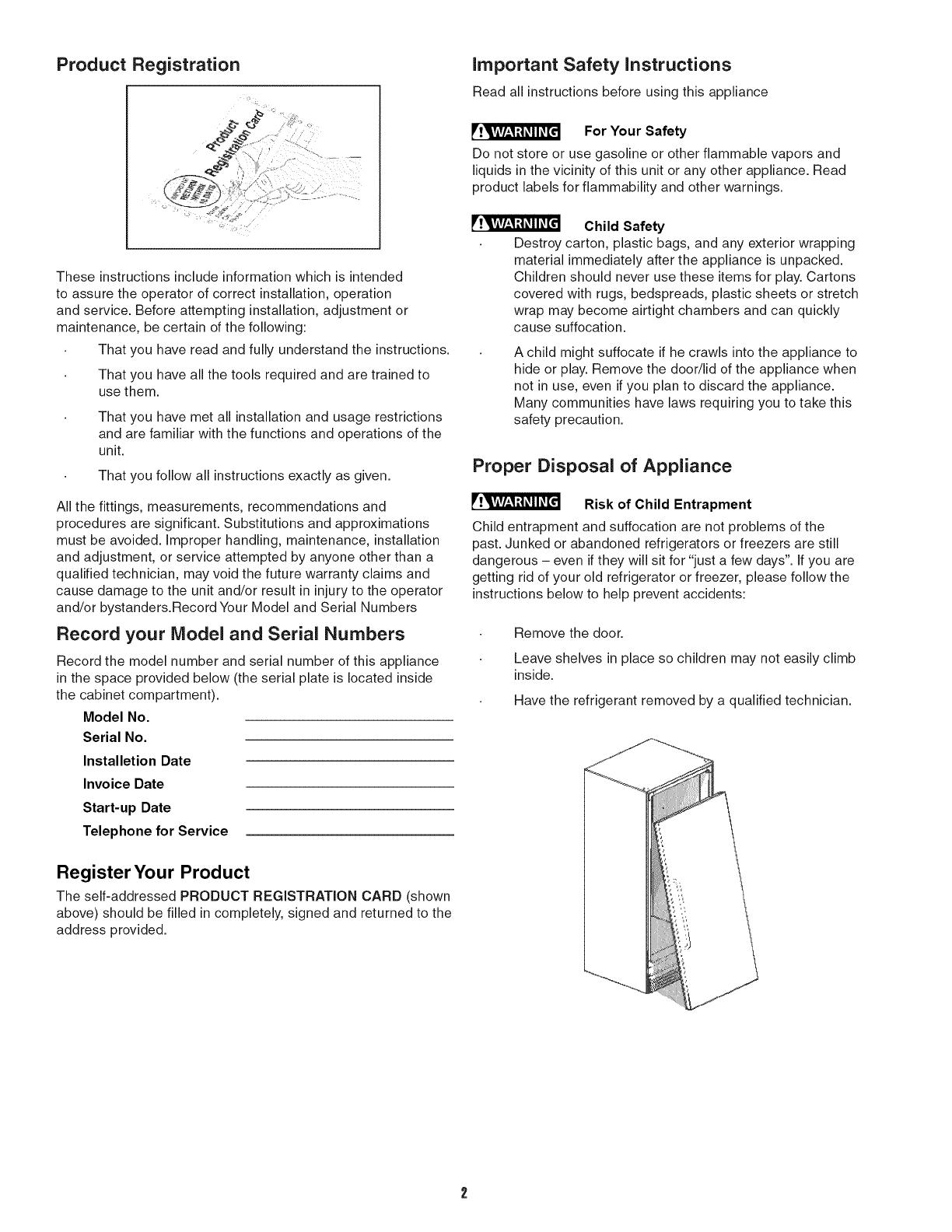 Frigidaire Fcgm201rfb2 User Manual Refrigerator  Freezer