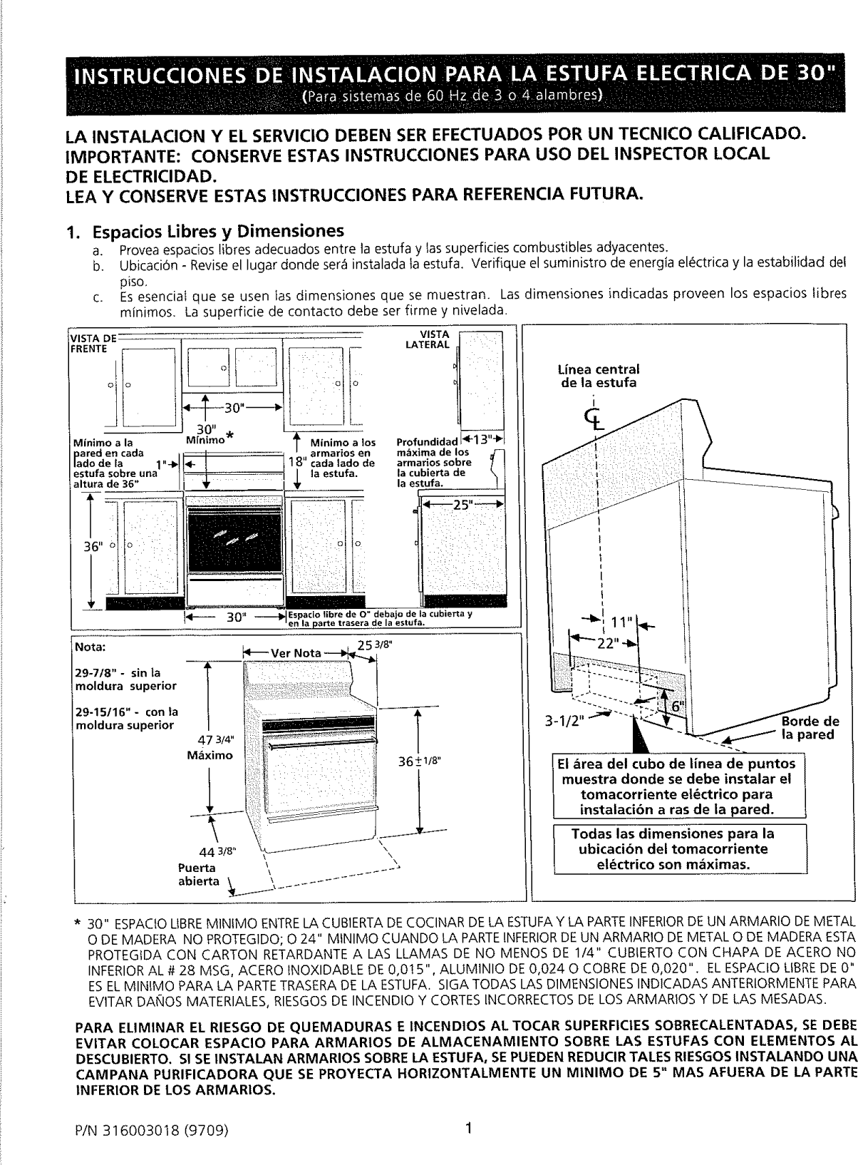 Page 1 of 6 - Frigidaire FEF363SGWA User Manual  ELECTRIC RANGE - Manuals And Guides L0901444
